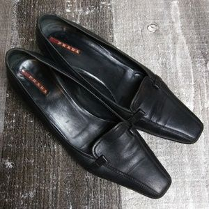 Authentic PRADA Kitten Heel Black Leather Shoes 40